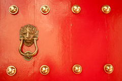 Antique Red Chinese door Stock Photo