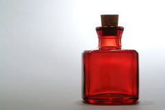 Antique Red Glass Square Bottle with Vintage Cork  Stock Image