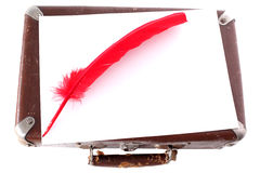 Antique red pen and suitcase Royalty Free Stock Photography