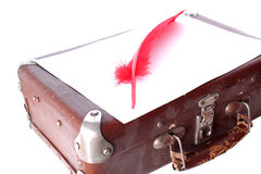 Antique red pen and suitcase Royalty Free Stock Images