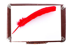 Antique red pen and suitcase. Isolated on white Stock Photography