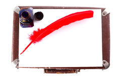 Antique red pen witn inkwell Stock Photography
