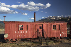 Antique red railroad cars, Ridgway, Colorado, USA Royalty Free Stock Photography