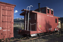 Antique red railroad cars, Ridgway, Colorado, USA Stock Image
