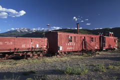 Antique red railroad cars, Ridgway, Colorado, USA Royalty Free Stock Photo