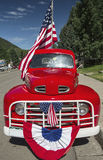 Antique Red Truck and US Flag, July 4, Independence Day Parade, Telluride, Colorado, USA Stock Photos