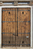 Antique red wooden door. Royalty Free Stock Image
