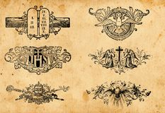 Antique religion symbols. Set of antique christianity religion symbols Stock Image