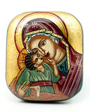 Antique religious icon. Representing Virgin Mary with Child Stock Photography