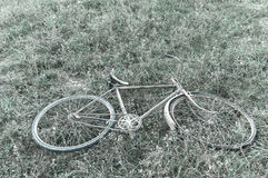 Antique or retro oxidized bicycle on the grass Stock Photo