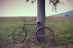 Antique or retro oxidized bicycle outside Royalty Free Stock Photos