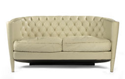 Antique retro sofa couch cream leather isolated on white Stock Photo