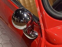 Free Antique Retro Style Vintage Mini Cooper Convertible Car Dashboard Red Vehicle Lifestyle Transportation Design Chrome Design Detail Stock Photography - 193454142