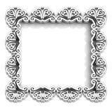 Antique floral white frame for text. Antique retro white frame for text illustration Stock Image