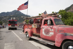 Antique Ridgway firetruck drives Stock Photography