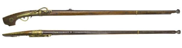 Antique Rifle guns on a white background Royalty Free Stock Photos
