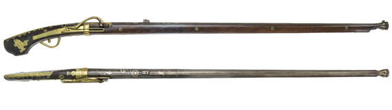 Antique Rifle guns on a white background Royalty Free Stock Image