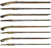 Antique Rifle guns on a white background Royalty Free Stock Photography