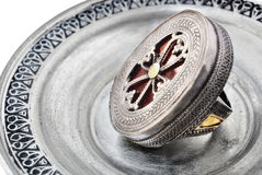 Antique ring with cross symbol royalty free stock image