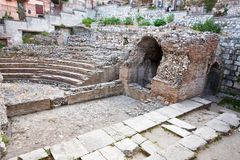 Antique roman amphitheater Odeon, Taormina, Sicily Stock Photos