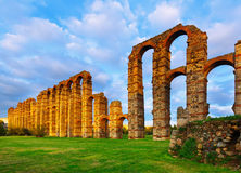 Antique  roman aqueduct in  evening lights. Merida. Spain Royalty Free Stock Photography