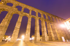 Antique roman aqueduct  in  evening. Segovia Stock Image