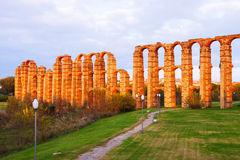 Antique  Roman Aqueduct of Merida. In  autumn evening. Spain Stock Images