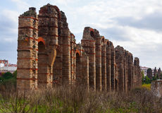 Antique  Roman Aqueduct at Merida in  autumn. Time. Spain Royalty Free Stock Images