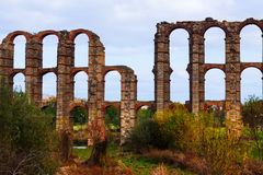 Antique  Roman Aqueduct of Merida Royalty Free Stock Photos