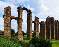 Antique  Roman Aqueduct of Merida Stock Photo
