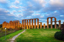 Antique  Roman Aqueduct of Merida. In  dusk lights. Extremadura, Spain Royalty Free Stock Photography