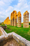 Antique  Roman Aqueduct of Merida. In  evening lights. Spain Royalty Free Stock Photography