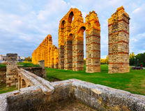 Antique  roman aqueduct. Merida, Spain Stock Images