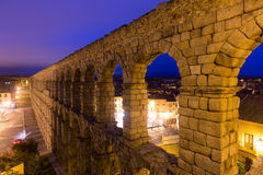 Antique roman aqueduct  in  Segovia. Antique roman aqueduct  in  early morning.  Segovia Royalty Free Stock Images