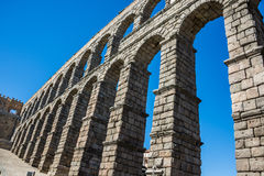 Antique roman aqueduct in Segovia, Spain Stock Photo