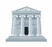 Antique Roman or Greek temple with colonnade  on white background. Vector flat illustration Royalty Free Stock Photo