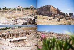 Antique Roman Hierapolis. Collage of Roman Hierapolis with adjacent remains of buildings, Pamukkale, Turkey. UNESCO World Heritage Royalty Free Stock Photo