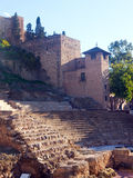 Antique   Roman Theatre ans castle at Malaga Stock Photography