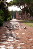 Antique roman way at Ostia Antica Rome Stock Images