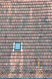 Antique roof with window,chimney and arrester Royalty Free Stock Photography