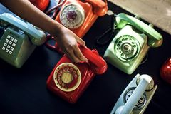 Antique rotary dial retro home phone Royalty Free Stock Images