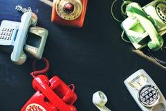 Antique rotary dial retro home phone Stock Photos