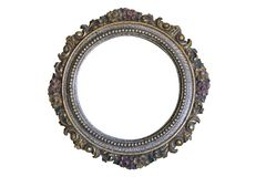 Antique round frame isolated on white royalty free stock photos