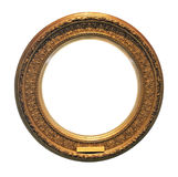 Antique round golden frame (with clipping path). Isolated on white background Stock Photos