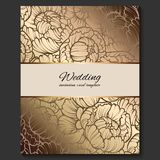 Antique royal luxury wedding invitation, gold on beige background with frame and place for text, lacy foliage made of roses or. Peonies with shiny gradient stock illustration
