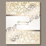 Antique royal luxury wedding invitation, gold on white background with frame and place for text, lacy foliage made of roses or. Peonies with shiny gradient royalty free illustration