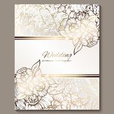 Antique royal luxury wedding invitation, gold on white background with frame and place for text, lacy foliage made of roses or. Peonies with shiny gradient vector illustration