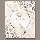 Antique royal luxury wedding invitation, gold on white background with frame and place for text, lacy foliage made of roses or. Peonies with shiny gradient stock illustration