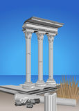 Antique Ruins. Illustration of antique temple ruins and mediterranean sea Royalty Free Stock Photography