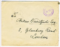 Antique censored Russian letter with London address Royalty Free Stock Photo